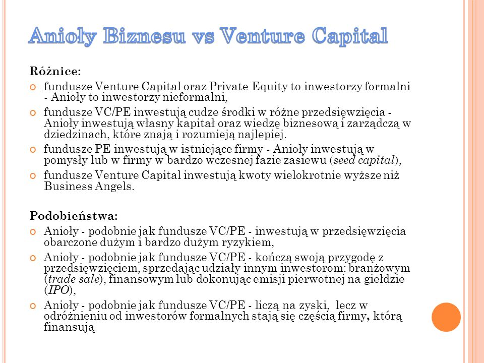 Anioły Biznesu vs Venture Capital