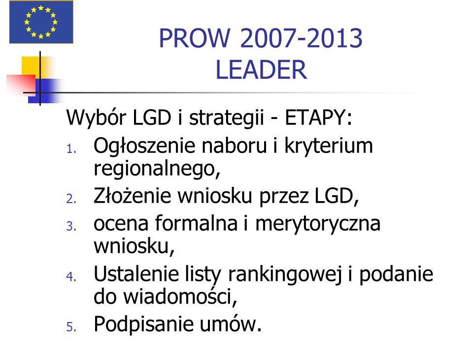 PROW 2007-2013 LEADER Wybór LGD i strategii - ETAPY: