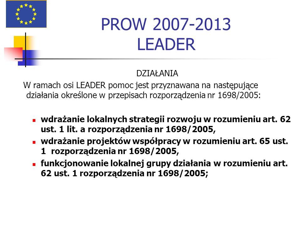 PROW 2007-2013 LEADER DZIAŁANIA