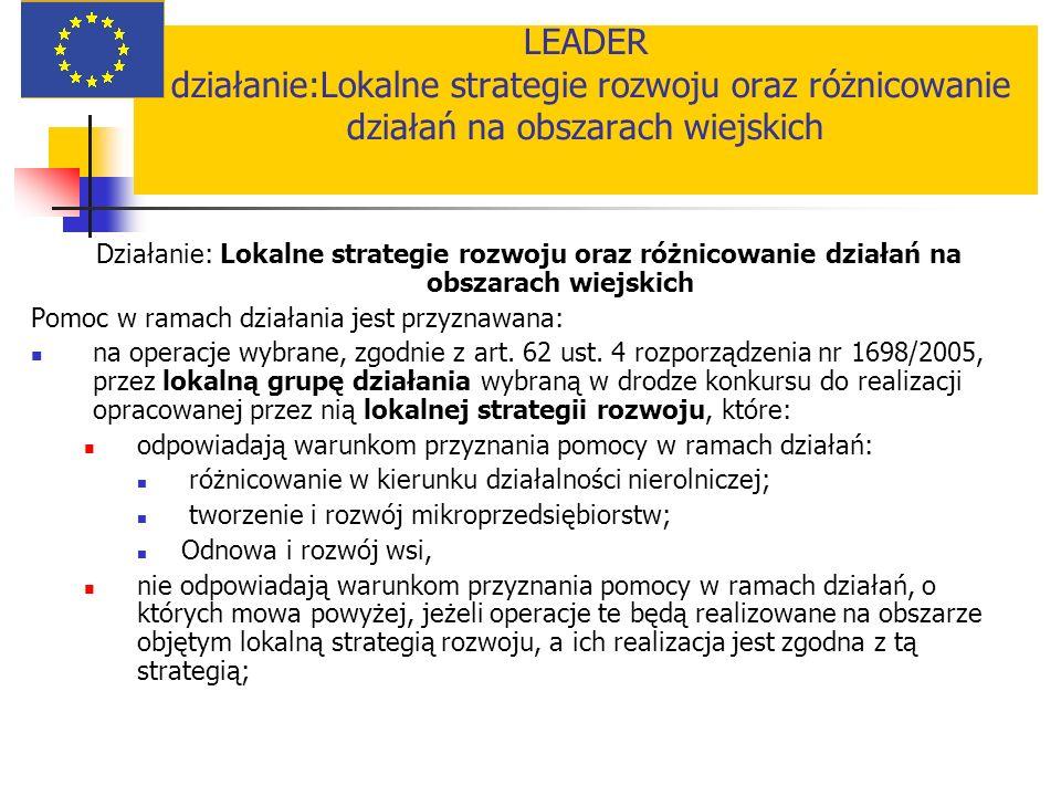 LEADER działanie:Lokalne strategie rozwoju oraz różnicowanie działań na obszarach wiejskich