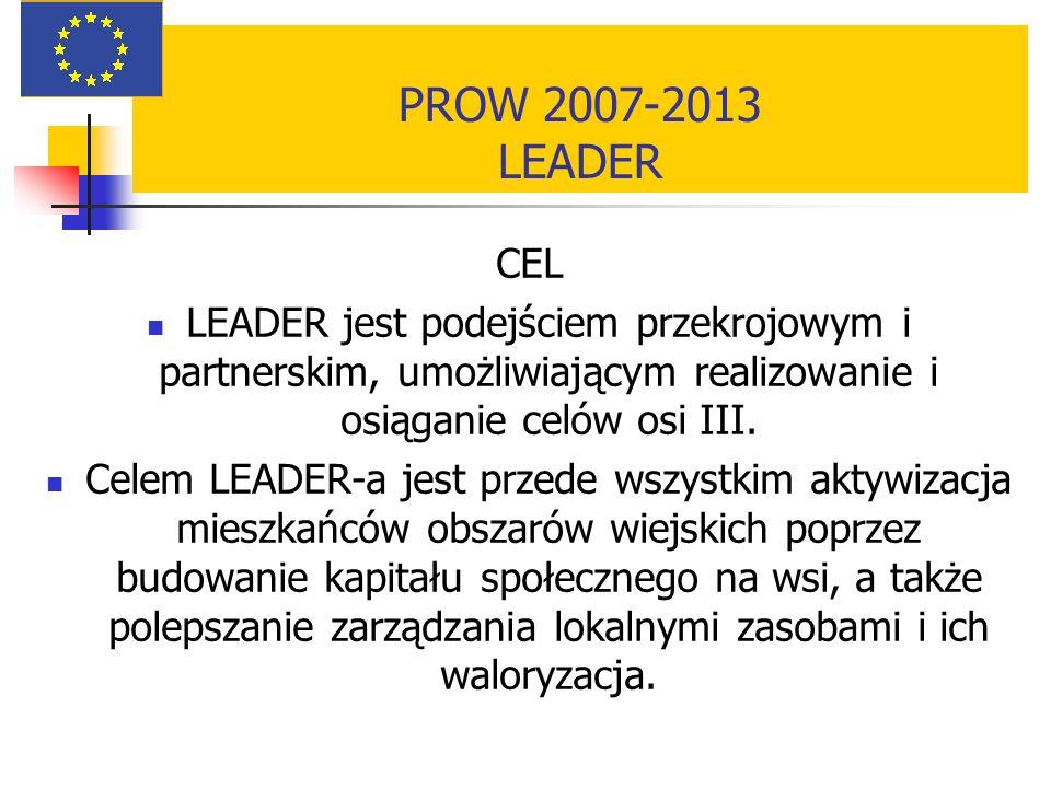 PROW 2007-2013 LEADER CEL. LEADER jest podejściem przekrojowym i partnerskim, umożliwiającym realizowanie i osiąganie celów osi III.