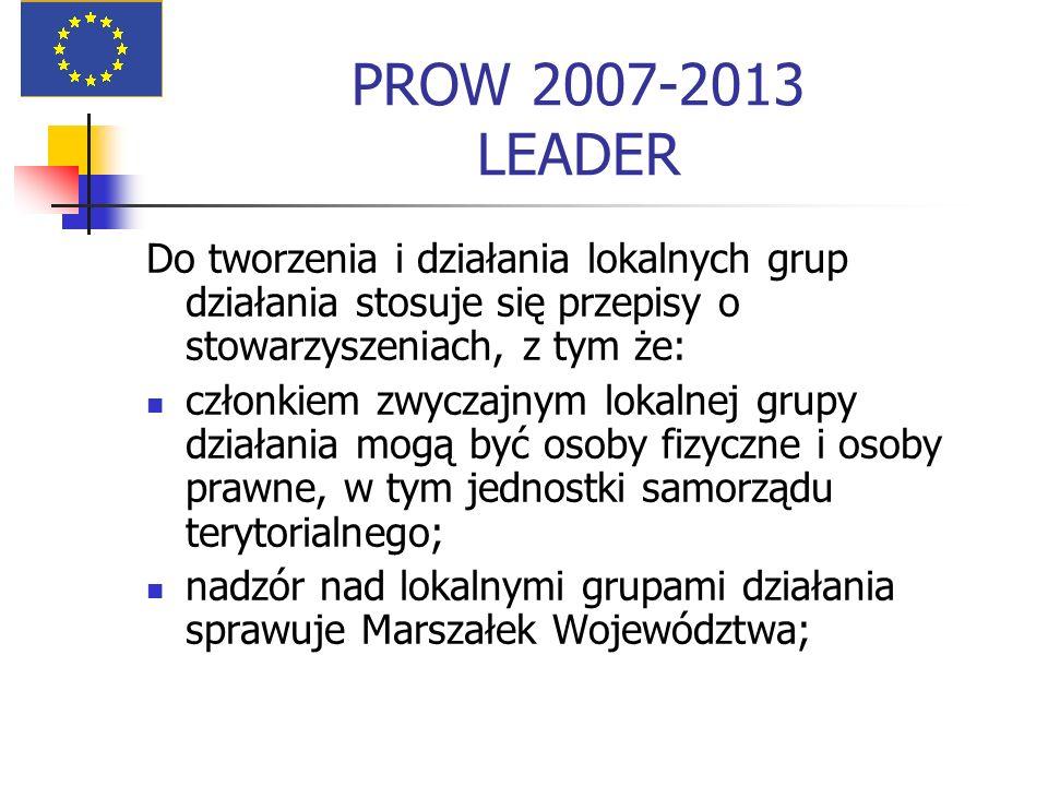 PROW 2007-2013 LEADER Do tworzenia i działania lokalnych grup działania stosuje się przepisy o stowarzyszeniach, z tym że: