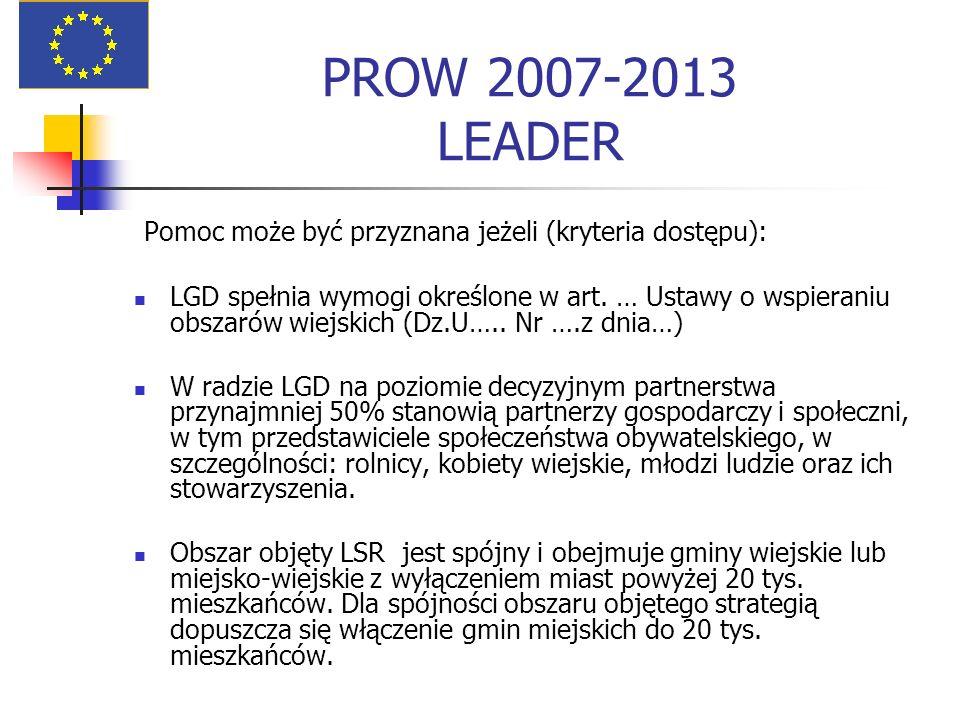 PROW 2007-2013 LEADER Pomoc może być przyznana jeżeli (kryteria dostępu):