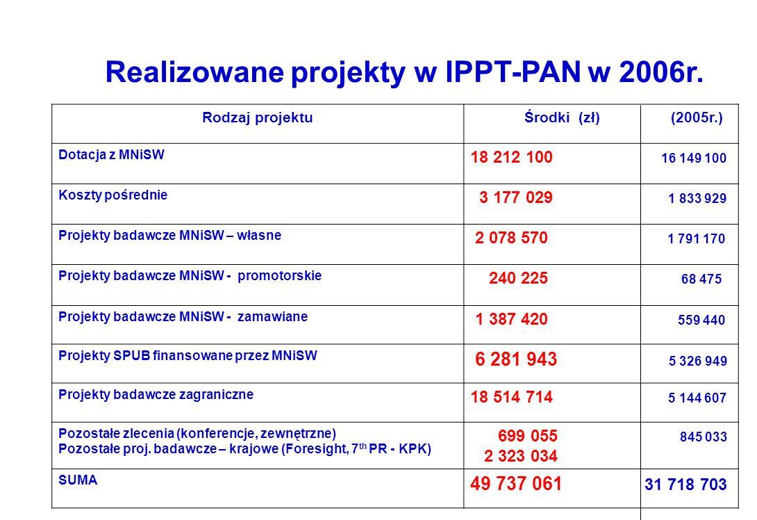 Realizowane projekty w IPPT-PAN w 2006r.