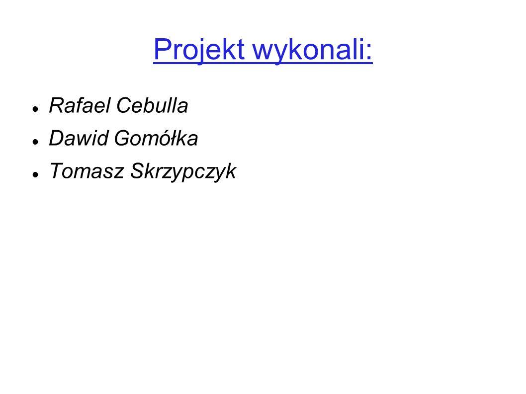 Projekt wykonali: Rafael Cebulla Dawid Gomółka Tomasz Skrzypczyk