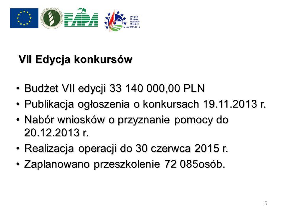 VII Edycja konkursów Budżet VII edycji 33 140 000,00 PLN. Publikacja ogłoszenia o konkursach 19.11.2013 r.
