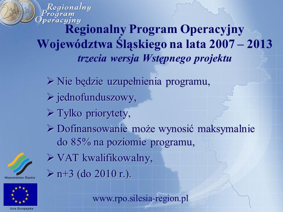 Regionalny Program Operacyjny Województwa Śląskiego na lata 2007 – 2013 trzecia wersja Wstępnego projektu