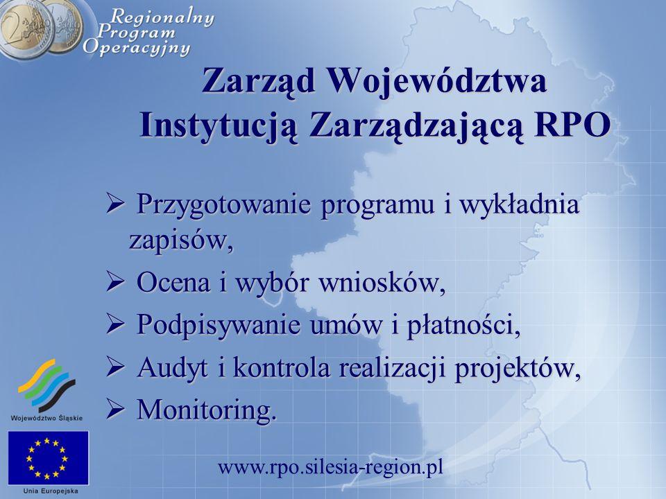 Zarząd Województwa Instytucją Zarządzającą RPO