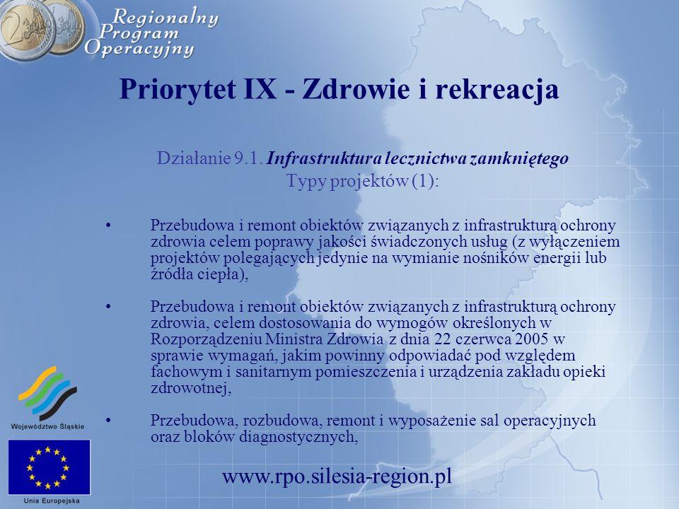 Priorytet IX - Zdrowie i rekreacja