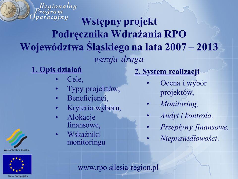 Wstępny projekt Podręcznika Wdrażania RPO Województwa Śląskiego na lata 2007 – 2013 wersja druga