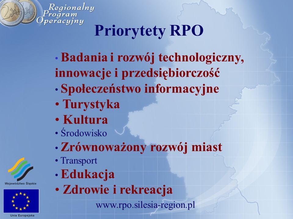 Priorytety RPO Turystyka Kultura Zdrowie i rekreacja