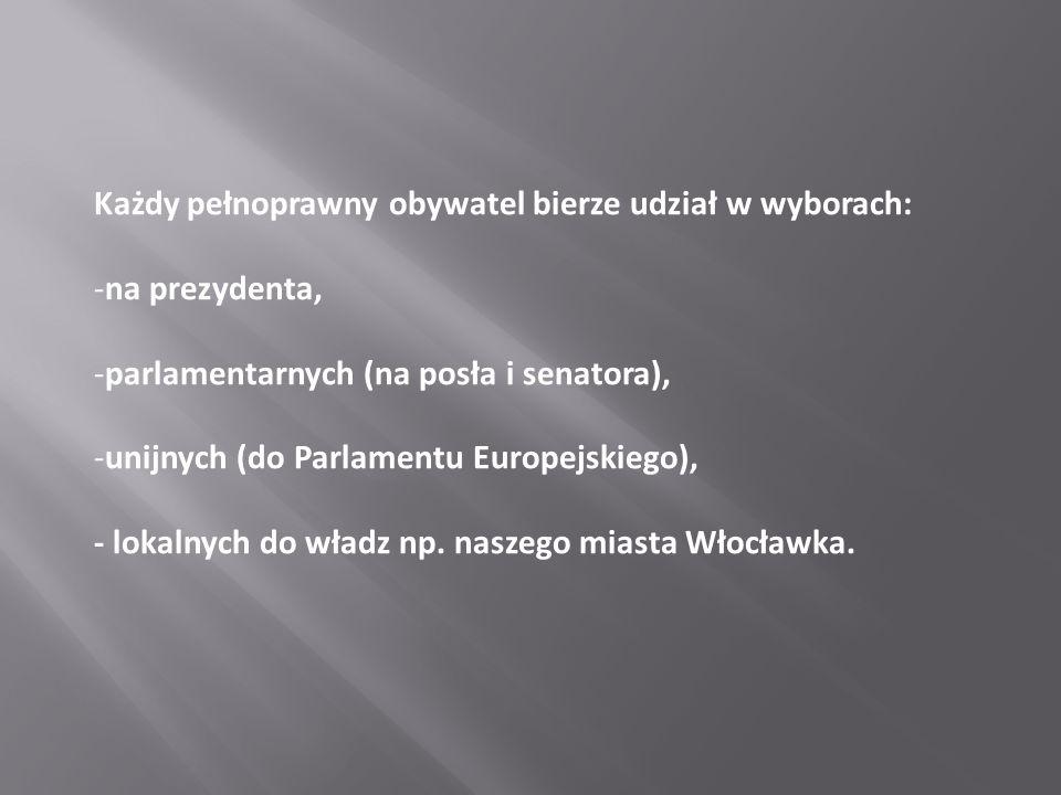 Każdy pełnoprawny obywatel bierze udział w wyborach: