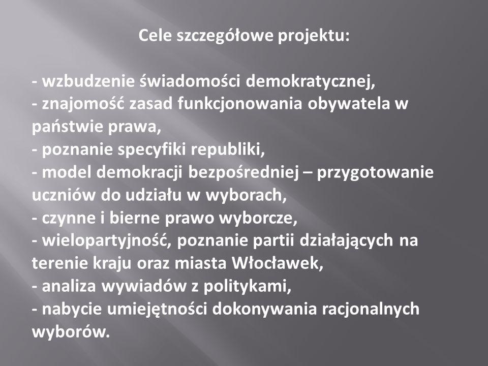 Cele szczegółowe projektu: