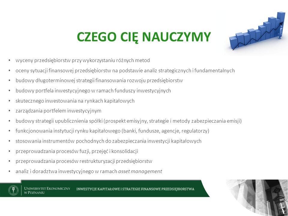 CZEGO CIĘ NAUCZYMY wyceny przedsiębiorstw przy wykorzystaniu różnych metod.