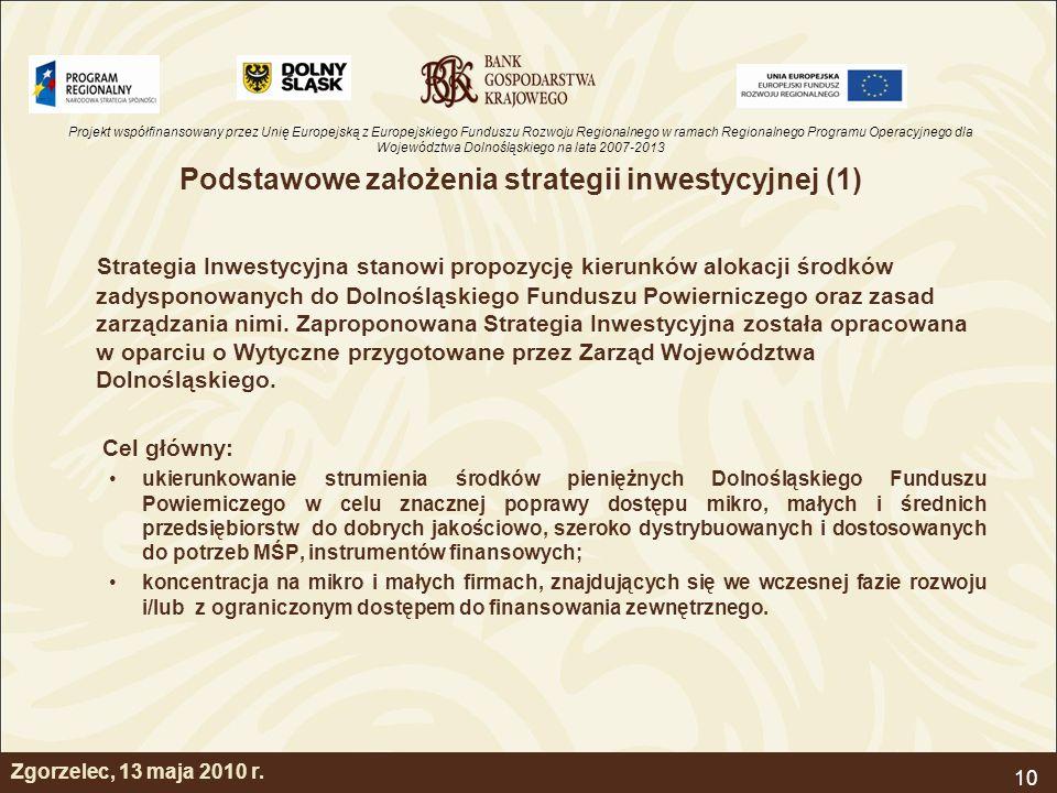 Podstawowe założenia strategii inwestycyjnej (1)