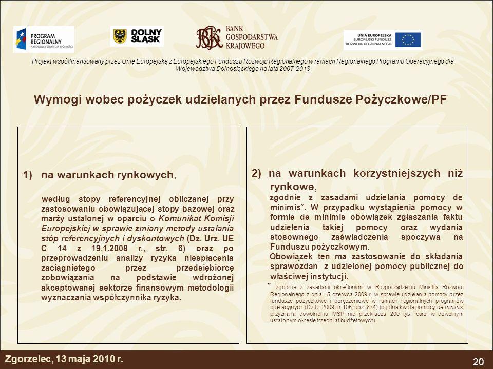 Wymogi wobec pożyczek udzielanych przez Fundusze Pożyczkowe/PF