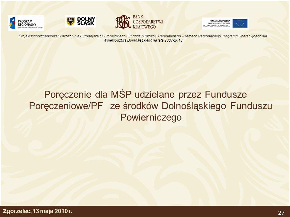 Poręczenie dla MŚP udzielane przez Fundusze Poręczeniowe/PF ze środków Dolnośląskiego Funduszu Powierniczego