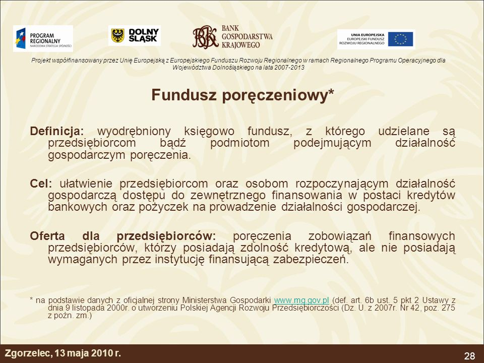 Fundusz poręczeniowy*