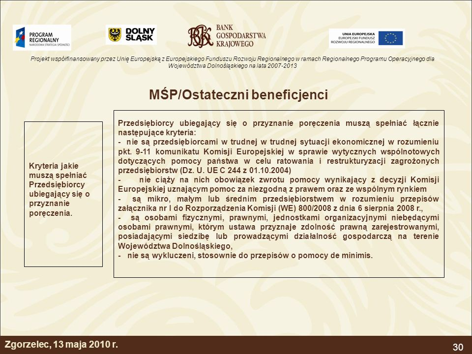 MŚP/Ostateczni beneficjenci