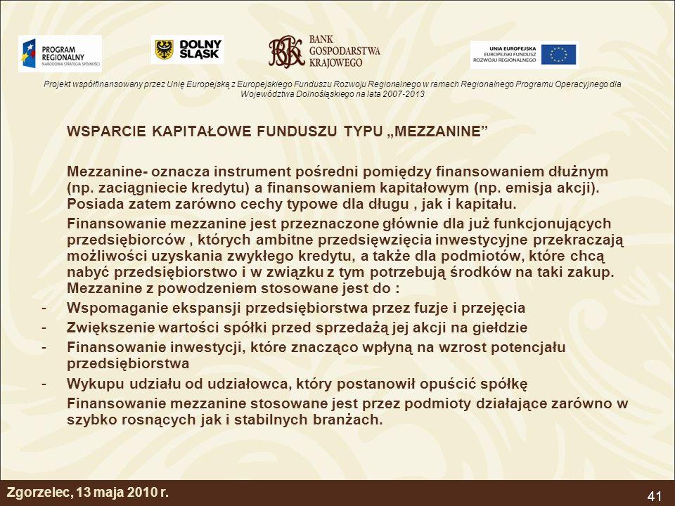 """WSPARCIE KAPITAŁOWE FUNDUSZU TYPU """"MEZZANINE"""