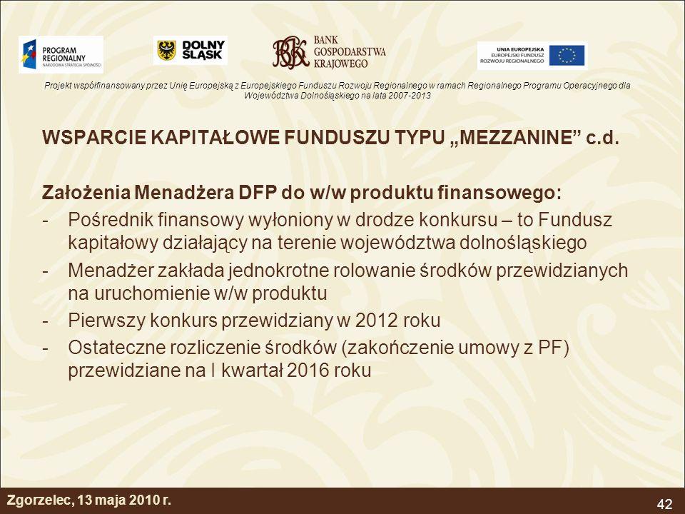 """WSPARCIE KAPITAŁOWE FUNDUSZU TYPU """"MEZZANINE c.d."""