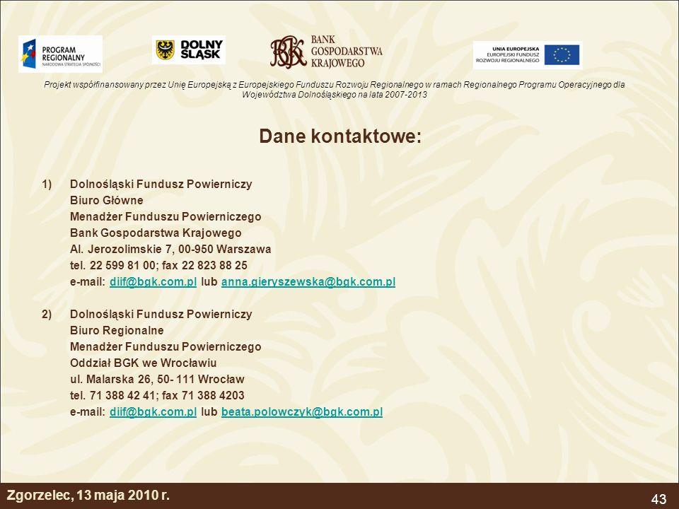 Dane kontaktowe: Zgorzelec, 13 maja 2010 r.