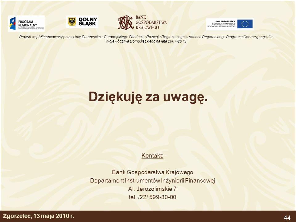 Dziękuję za uwagę. Kontakt: Bank Gospodarstwa Krajowego
