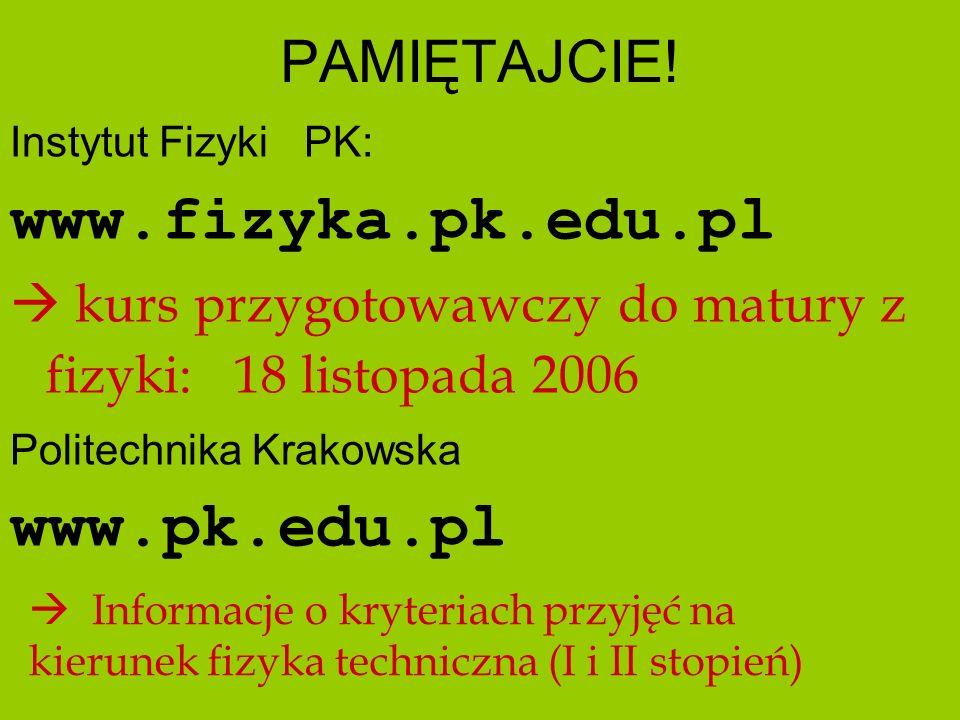 www.fizyka.pk.edu.pl www.pk.edu.pl PAMIĘTAJCIE!