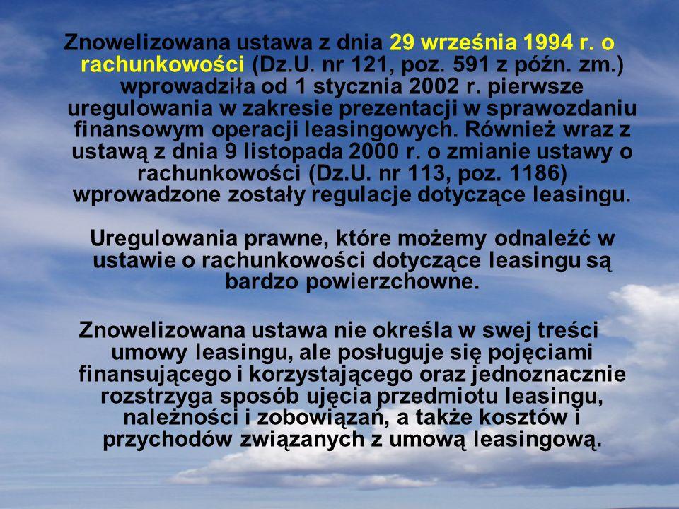 Znowelizowana ustawa z dnia 29 września 1994 r. o rachunkowości (Dz. U