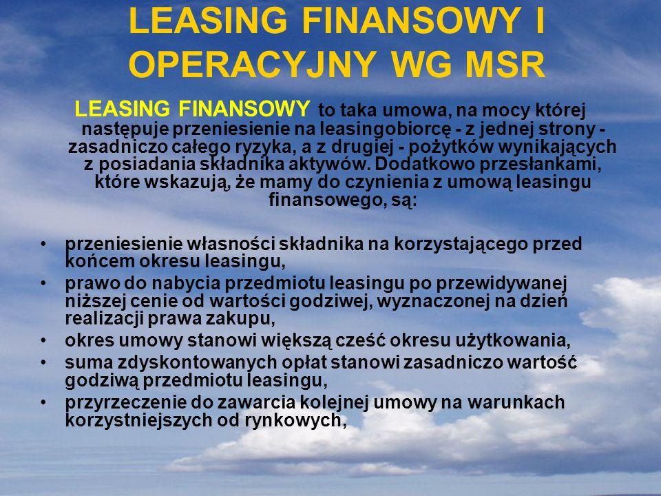 LEASING FINANSOWY I OPERACYJNY WG MSR