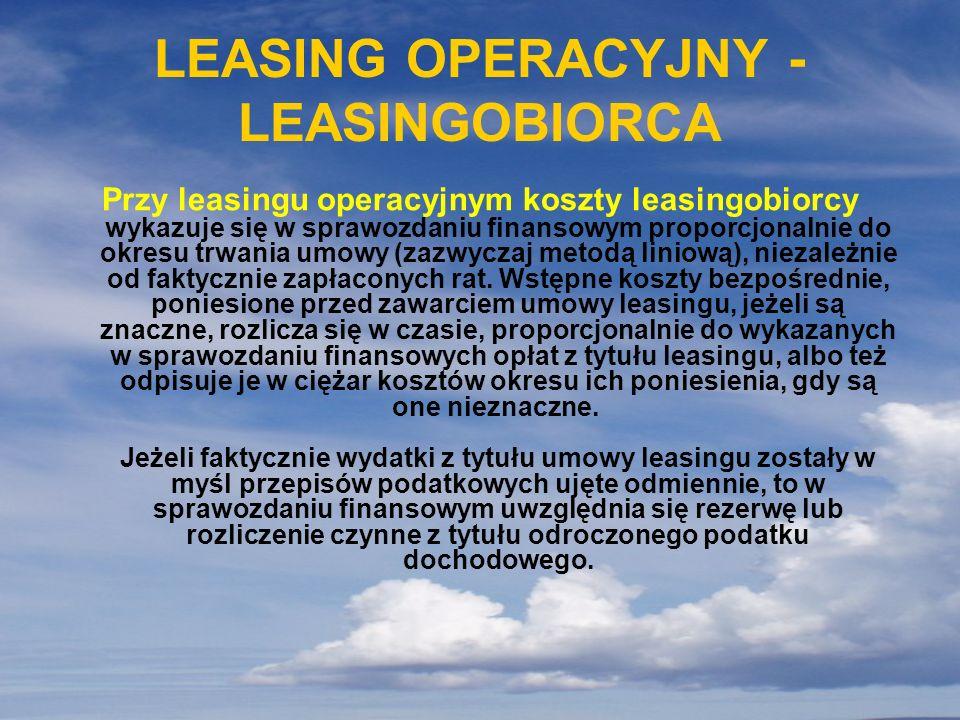 LEASING OPERACYJNY - LEASINGOBIORCA