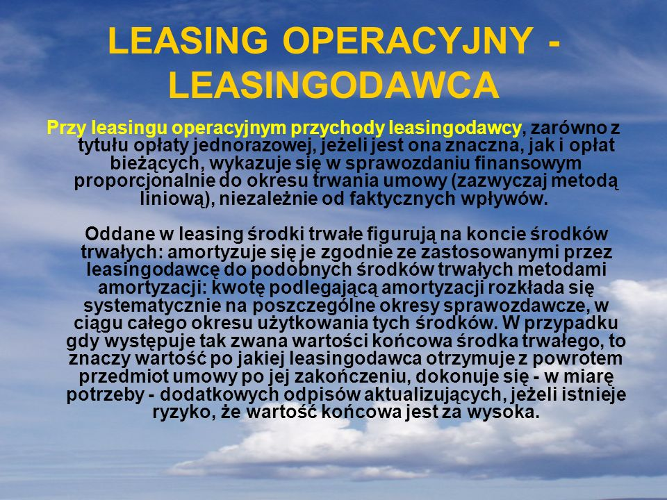 LEASING OPERACYJNY - LEASINGODAWCA