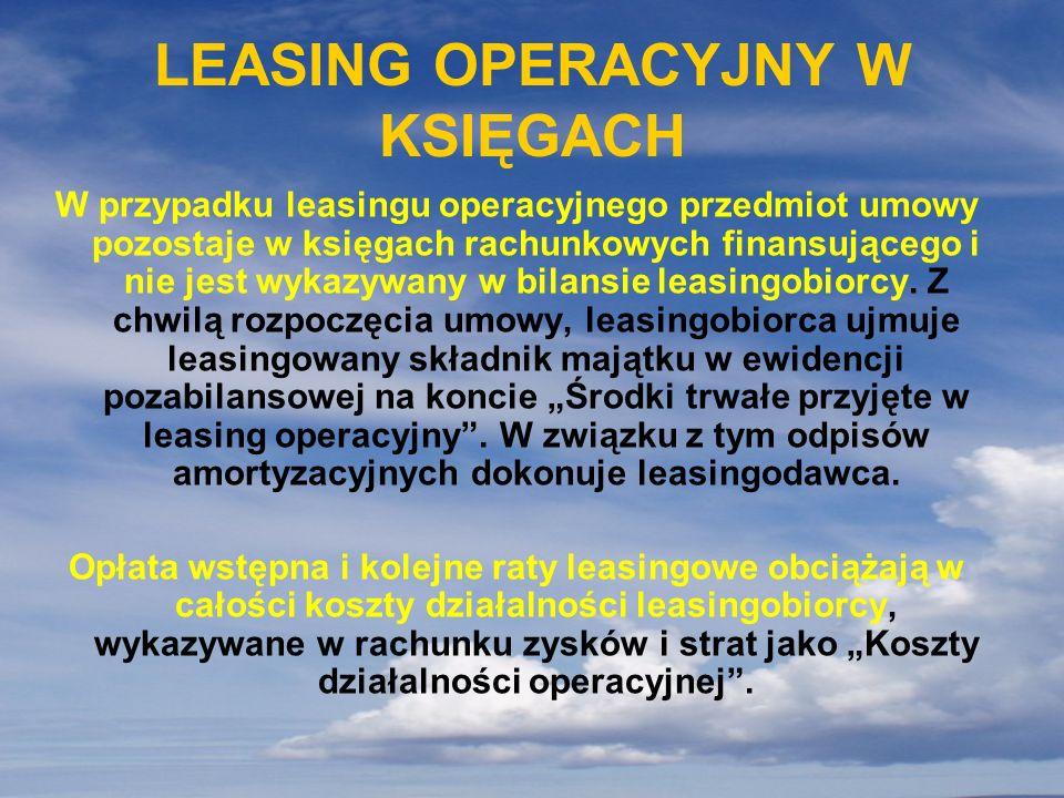 LEASING OPERACYJNY W KSIĘGACH
