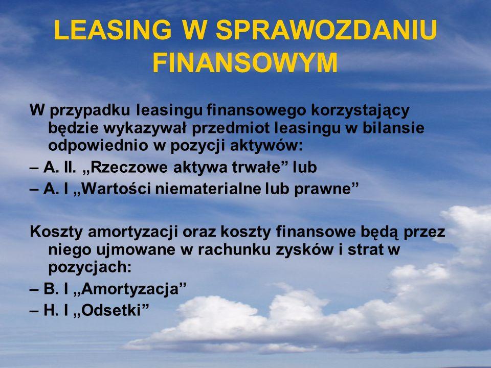 LEASING W SPRAWOZDANIU FINANSOWYM