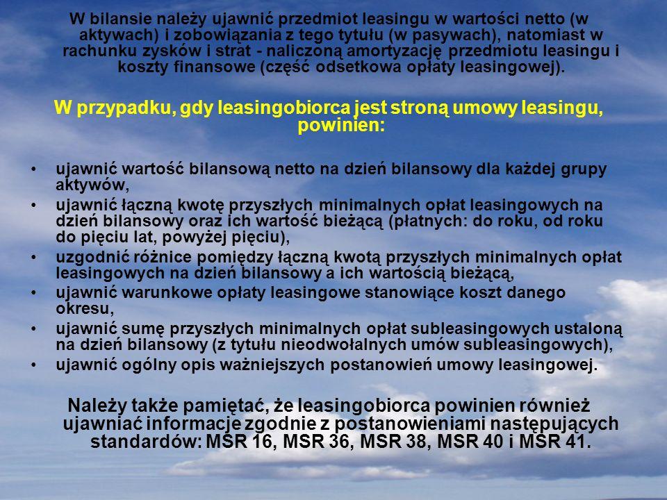 W przypadku, gdy leasingobiorca jest stroną umowy leasingu, powinien: