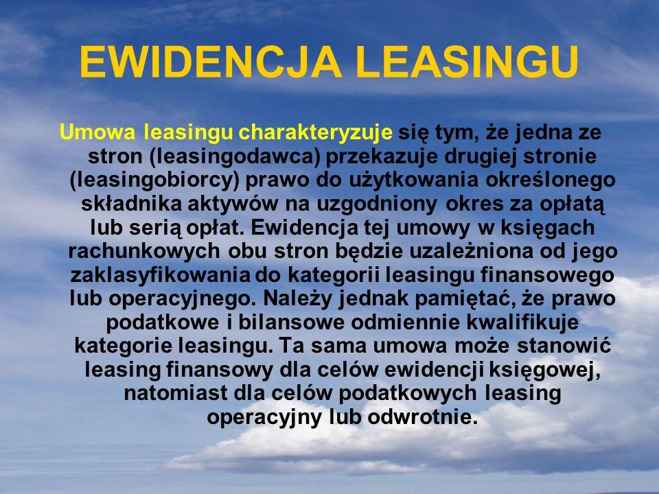 EWIDENCJA LEASINGU
