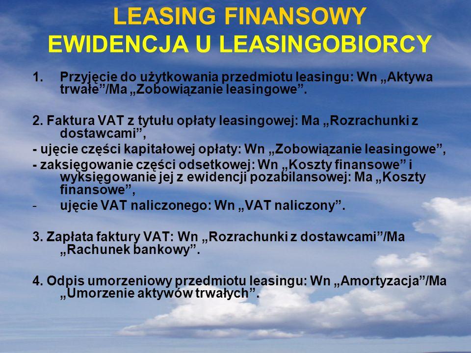 LEASING FINANSOWY EWIDENCJA U LEASINGOBIORCY