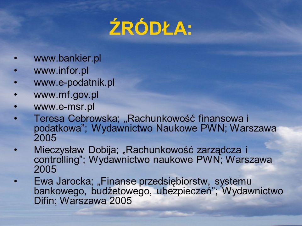 ŹRÓDŁA: www.bankier.pl www.infor.pl www.e-podatnik.pl www.mf.gov.pl