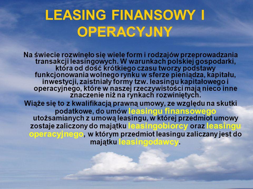 LEASING FINANSOWY I OPERACYJNY