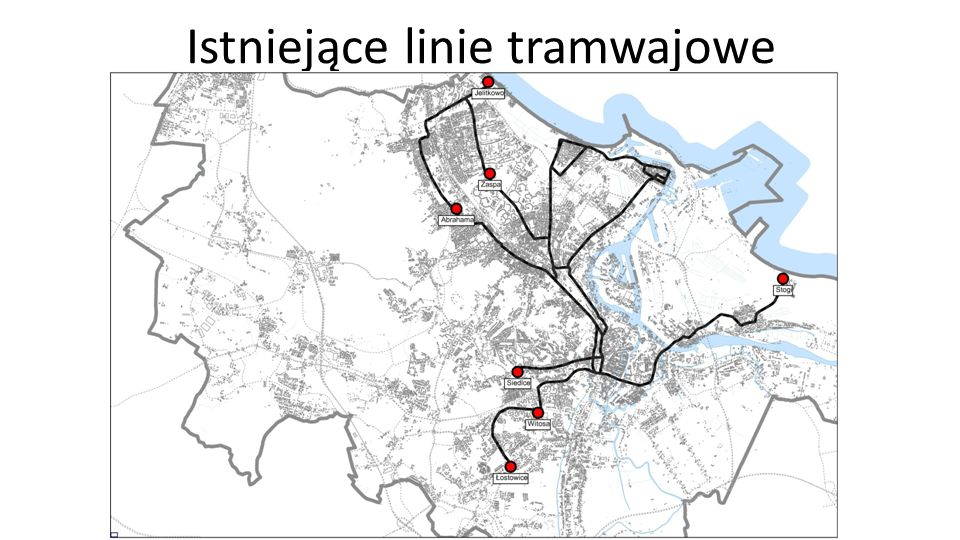 Istniejące linie tramwajowe