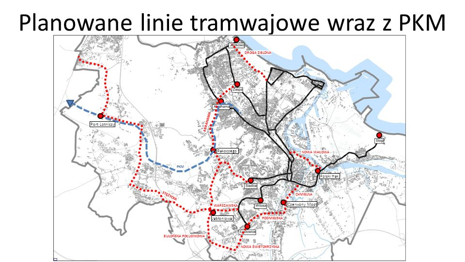 Planowane linie tramwajowe wraz z PKM