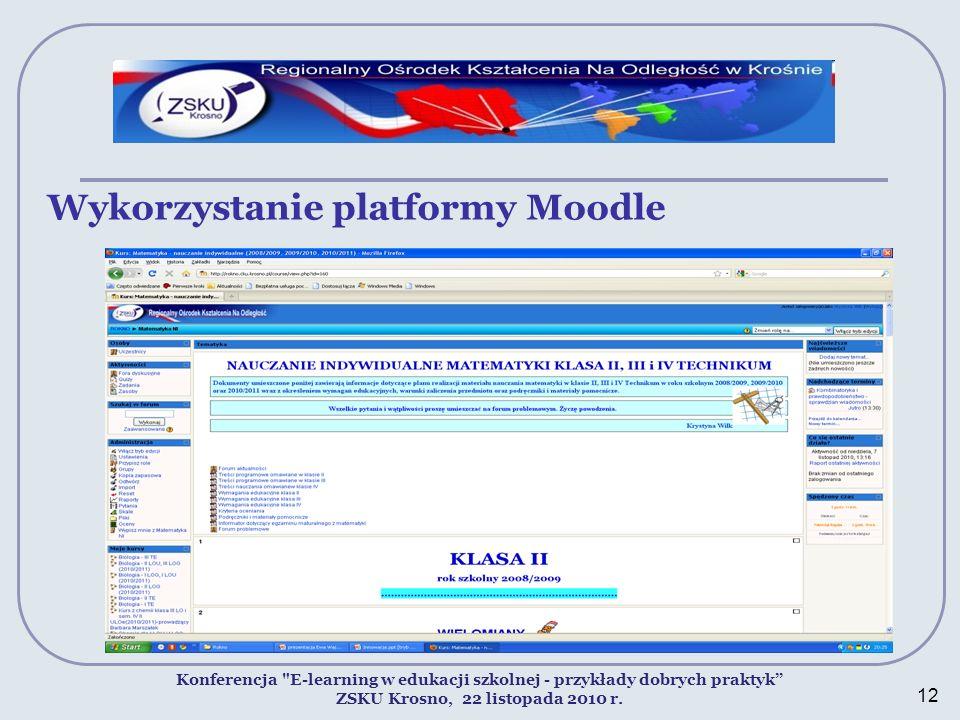 Wykorzystanie platformy Moodle