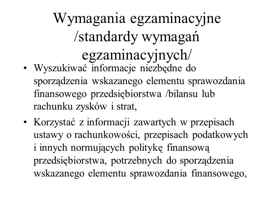 Wymagania egzaminacyjne /standardy wymagań egzaminacyjnych/
