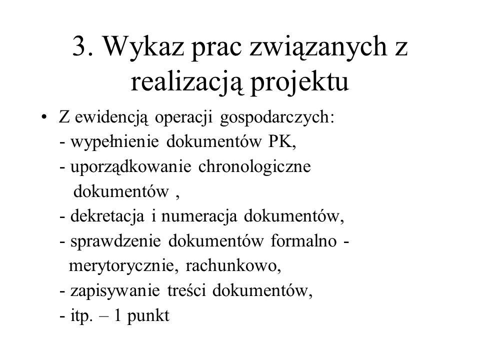 3. Wykaz prac związanych z realizacją projektu