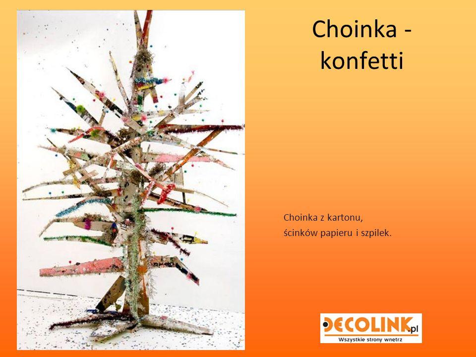 Choinka - konfetti Choinka z kartonu, ścinków papieru i szpilek.