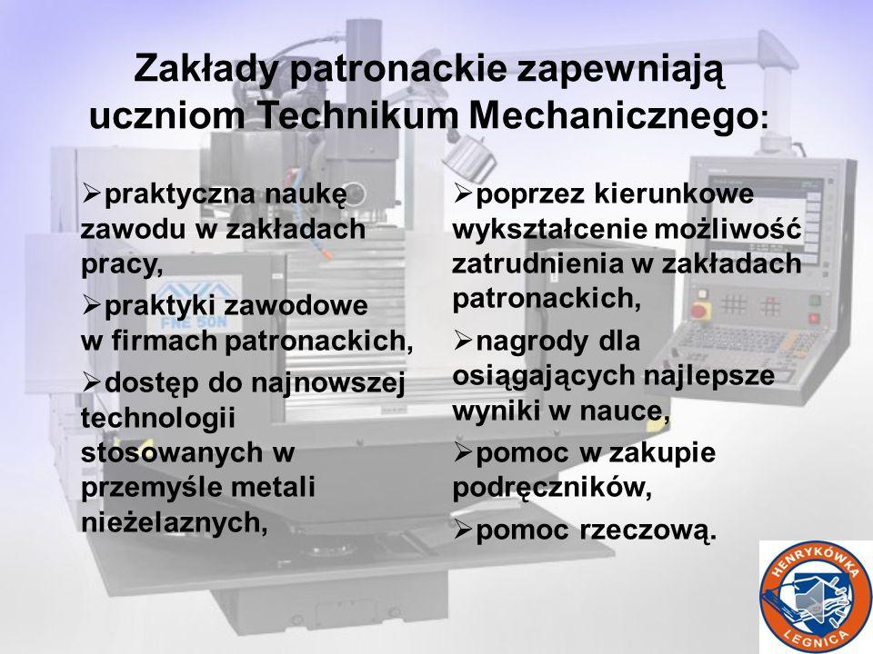 Zakłady patronackie zapewniają uczniom Technikum Mechanicznego: