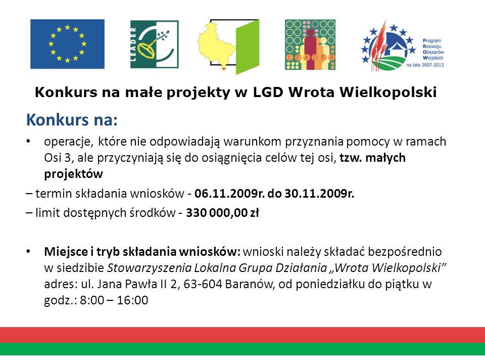 Konkurs na małe projekty w LGD Wrota Wielkopolski