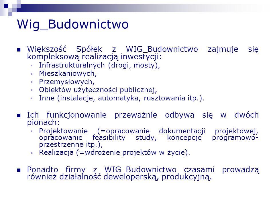 Wig_Budownictwo Większość Spółek z WIG_Budownictwo zajmuje się kompleksową realizacją inwestycji: Infrastrukturalnych (drogi, mosty),