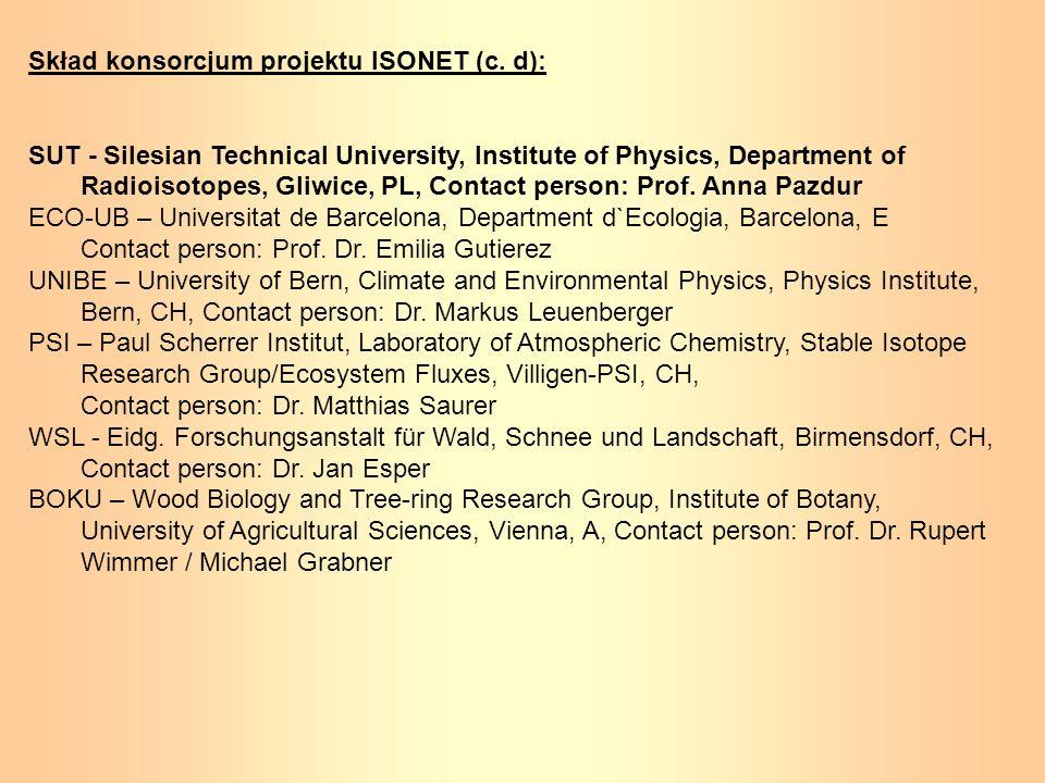 Skład konsorcjum projektu ISONET (c. d):