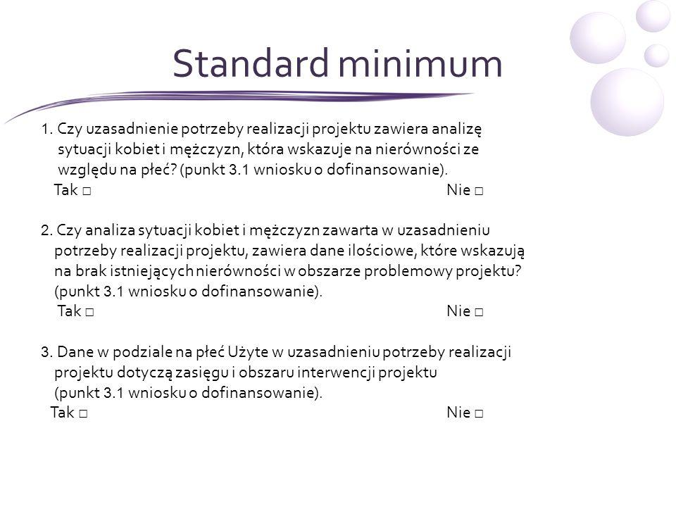 Standard minimum1. Czy uzasadnienie potrzeby realizacji projektu zawiera analizę. sytuacji kobiet i mężczyzn, która wskazuje na nierówności ze.